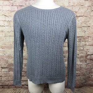 Izod Cable Knit Pullover Sweater Sz XL Gray Cotton